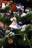 Christmas tree with toys and balls. Christmas tree with bright ornaments and lights. Merry Christmas celebration concept. royalty free stock photography