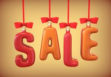 Christmas-tree toys, balls in the form of text SALE, hanging ribbon with red bows. Stock Photos