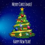 Christmas tree with toys, balls, ribbon and garland Royalty Free Stock Photography