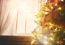 Christmas tree with toys baubles Royalty Free Stock Image