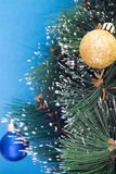 Christmas tree and toys on a blue background Stock Image