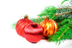 Christmas tree with toys. Christmas tree with colorful toys on a white background Stock Photography