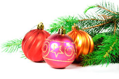 Christmas tree with toys. Christmas tree with colorful toys on a white background Royalty Free Stock Photography