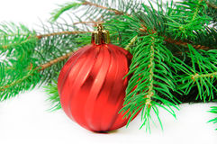 Christmas tree with toys. Christmas tree with colorful toys on a white background Royalty Free Stock Images