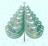 Christmas tree with toys on cyan background Royalty Free Stock Photo