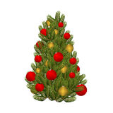 Christmas tree and toys. Decorated Christmas tree for  holiday. Royalty Free Stock Images