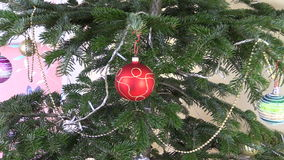 Christmas tree toys and decorations. Blinking white garland stock video