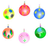 New year tree toys set. Funny color christmas tree toys Royalty Free Stock Photos