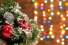 Christmas tree with toys on garland background Royalty Free Stock Photo