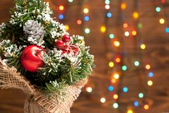 Christmas tree with toys on garland background Royalty Free Stock Images