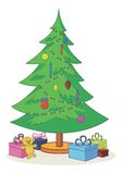 Christmas tree with toys and gift boxes. Cartoon, green Christmas tree with toys, teddy bear and gift boxes Royalty Free Stock Photography