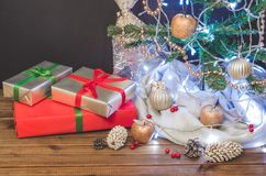 Christmas tree, toys and gifts, free space. For text Stock Photos