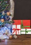 Christmas tree, toys and gifts, free space. For text Royalty Free Stock Photography