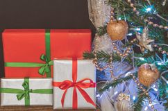 Christmas tree, toys and gifts, free space. For text Royalty Free Stock Images