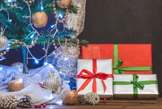 Christmas tree, toys and gifts, free space. For text Royalty Free Stock Image