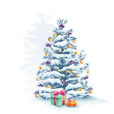 Christmas tree with toys and gifts Royalty Free Stock Images