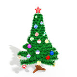 Christmas tree with toys. Isolated background Royalty Free Stock Photo