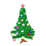 Christmas tree with toys. Isolated on white background Royalty Free Stock Image