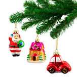Christmas tree and toys Stock Photos