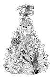 Christmas tree of toys. Monochrome Christmas tree of toys. Pattern for coloring book. Christmas hand-drawn decorative elements in vector stock illustration