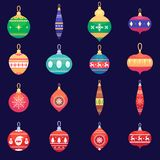 Christmas tree toys new year xmas balls set Vector colorful illustration in flat style Stock Photo