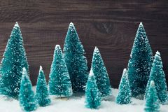 Christmas tree toys over wooden vintage background royalty free stock photography