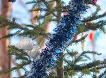 Christmas decorations on pine Stock Images