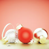 Christmas tree toys - red and gold balls and stars at red wall b. Ackground, close up Stock Image