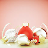 Christmas tree toys - red and golden balls Stock Images