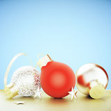 Christmas tree toys - red and golden balls Royalty Free Stock Photos