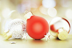Christmas tree toys - red and golden balls Stock Image