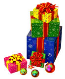 Christmas tree toys and set of gifts with red bows Royalty Free Stock Photos