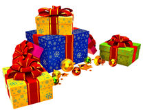 Christmas tree toys and set of gifts with red bows Royalty Free Stock Photo