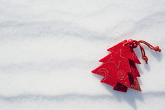 Christmas tree toys at snow Stock Image