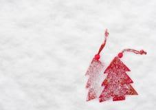 Christmas tree toys at snow Stock Photo