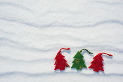 Christmas tree toys at snow Royalty Free Stock Photography