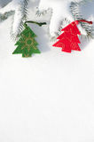 Christmas tree toys at snow with blank space Royalty Free Stock Image