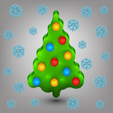 Christmas tree with toys. Snow Royalty Free Stock Images