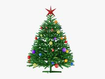 Christmas tree with toys and a star 3d vector illustration