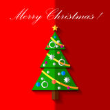 Christmas tree with toys. Vector card. EPS 10 Stock Photo