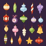 Christmas tree toys vector decorations balls, circle, stars, bells for decorate New Year Xmas tree brances illustration.  Royalty Free Stock Image
