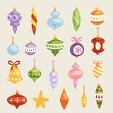 Christmas tree toys vector decorations balls, circle,. Stars, bells for decorate New Year Xmas tree toys on branches illustration isolated Royalty Free Stock Photos