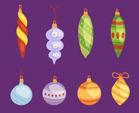 Christmas tree toys vector decorations balls, circle, stars, bells for decorate New Year Xmas tree toys on branches. Illustration Royalty Free Stock Image