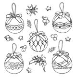 Vector Christmas tree toys doodles on white background vector illustration