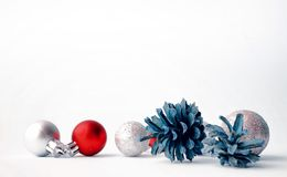 Christmas tree toys on a white background. Christmas decorations stock image