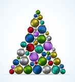 Christmas tree with toys on white background Royalty Free Stock Images