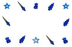 Christmas tree toys on white background. Isolated blue Christmas tree toys on white background royalty free stock photos