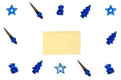 Christmas tree toys on white background. Isolated blue Christmas tree toys on white background royalty free stock photography