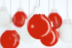 Christmas tree toys - white and red balls Stock Photos