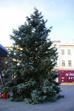 Christmas tree. Traditional Christmas fair at square in Mistek, Czech Republic royalty free stock images